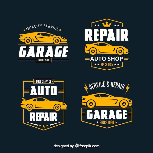 Flat car logos collection Free Vector