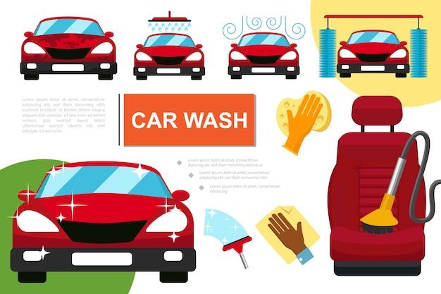Composizione servizio lavaggio auto piatto Vettore gratuito