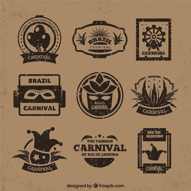 Flat carnival badges in vintage style vector free download - Vintage style images ...
