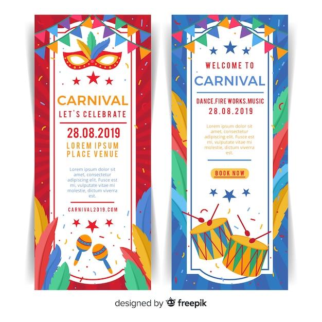 Banner di carnevale piatto Vettore gratuito