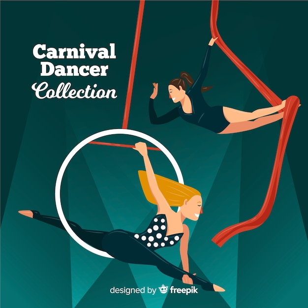 Flat carnival dancer collection Free Vector