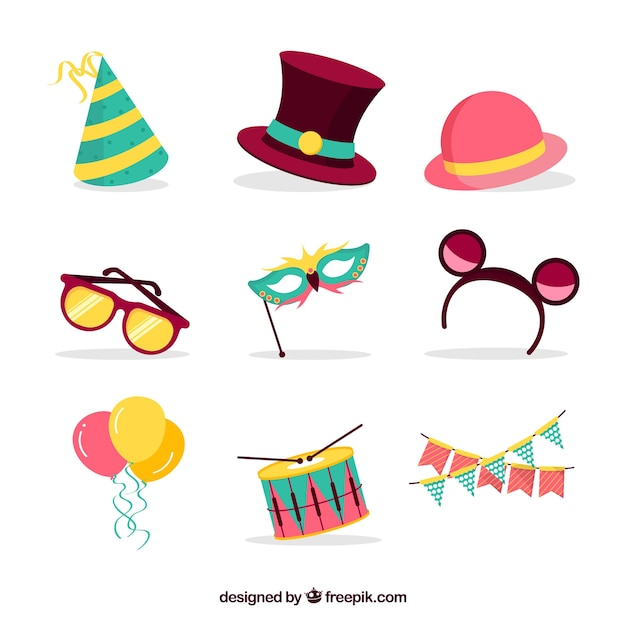 Flat carnival element collection Free Vector
