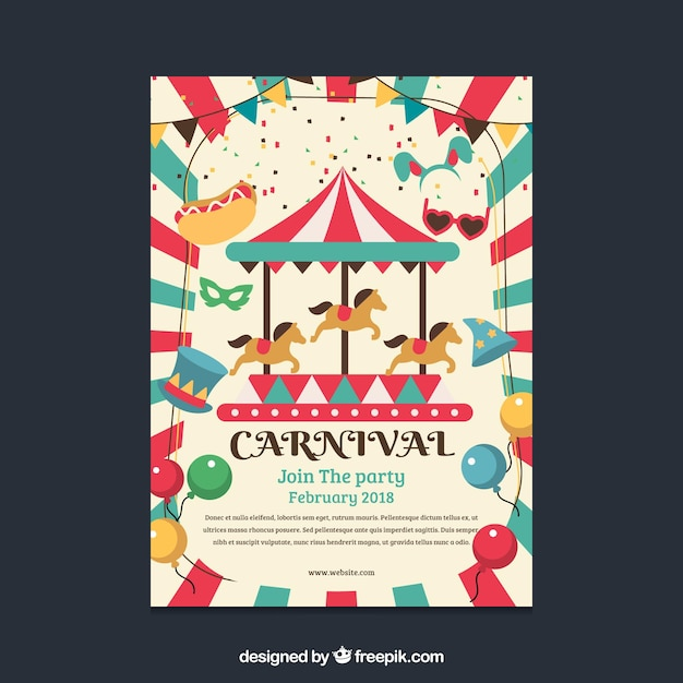 Christmas Carnival Poster.Flat Carnival Party Flyer Poster Vector Free Download