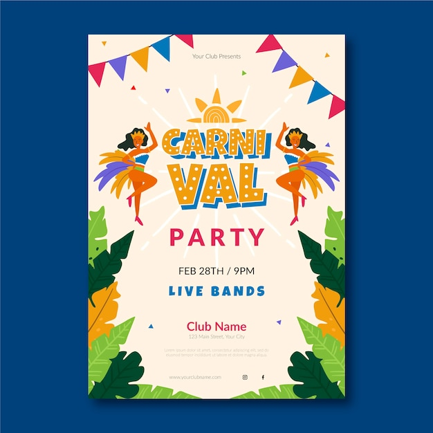 Flat carnival party poster Free Vector