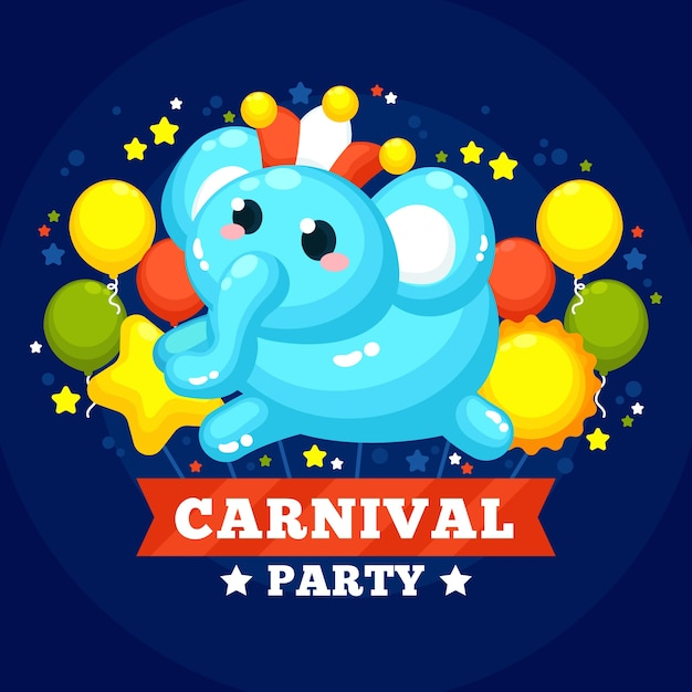 Flat carnival with balloons Free Vector
