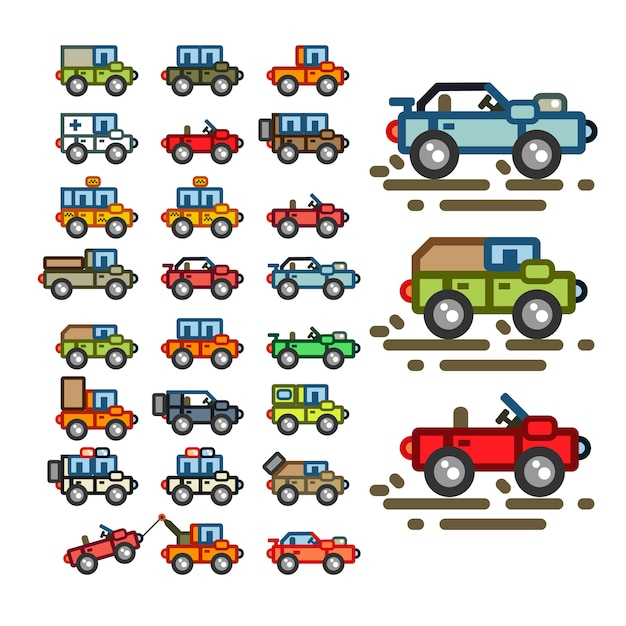 Flat cars for game application Premium Vector
