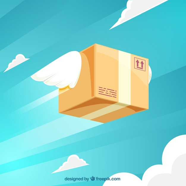 Flat carton box flying with wings Free Vector