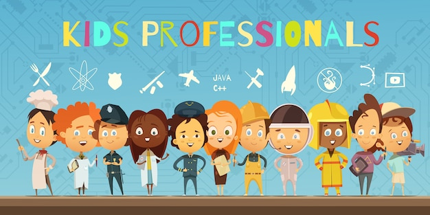 Flat cartoon composition with group of children wearing in costumes of professionals Free Vector