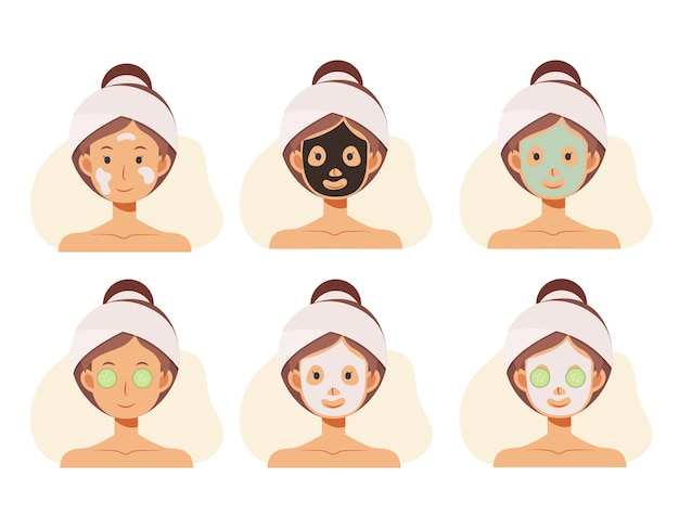 Flat cartoon illustration of woman faces with face skin care. clay masks, alginate masks. Premium Vector