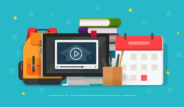 Плоские мультипликационные онлайн веб-курсы или видео обучение через интернет Premium векторы