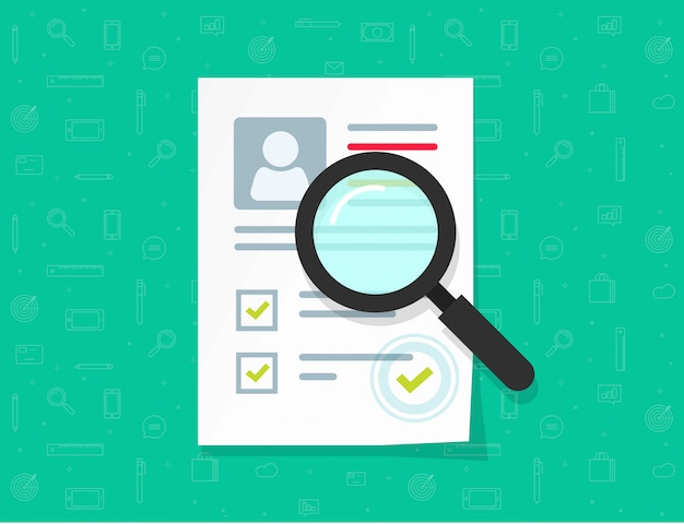 Flat cartoon paper document research with personal data and approved stamp vector illustration Premium Vector