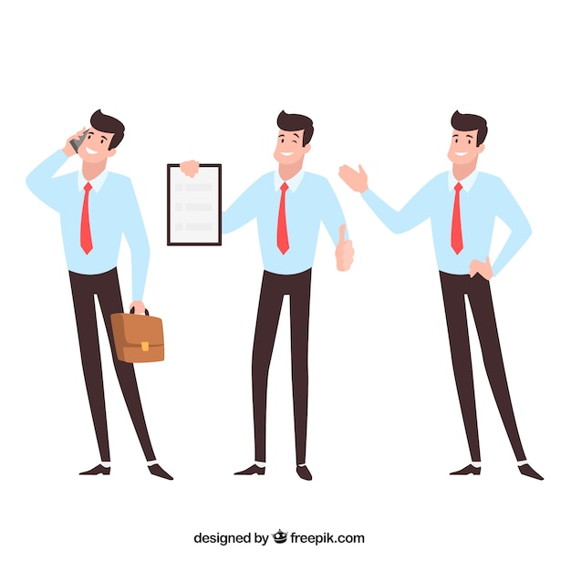 Flat cartoon salesman in different positions Free Vector