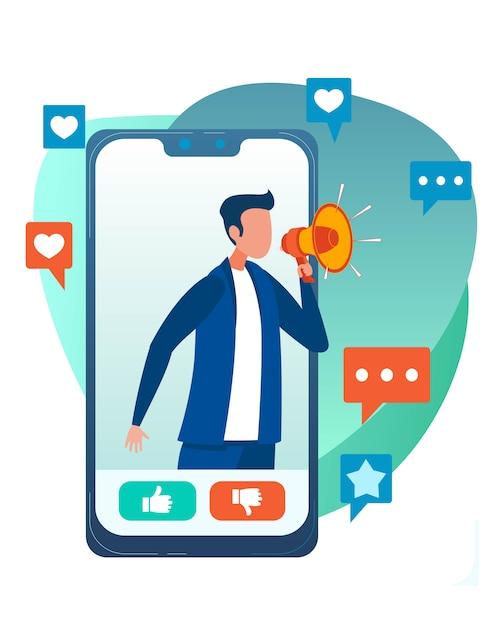 Мобильная реклама через социальную сеть flat cartoon Premium векторы