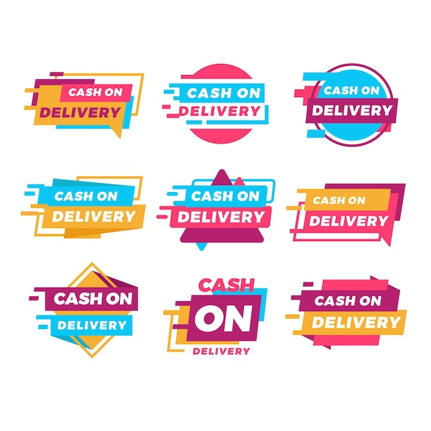 Flat cash on delivery badges set Premium Vector