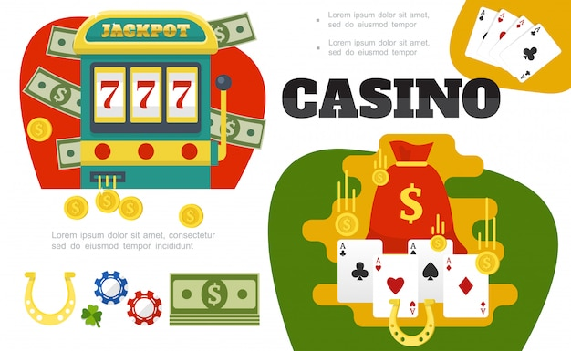 Flat casino colorful composition with slot machine bag of money card suits gold coins horseshoe poker chips leaf clover Free Vector