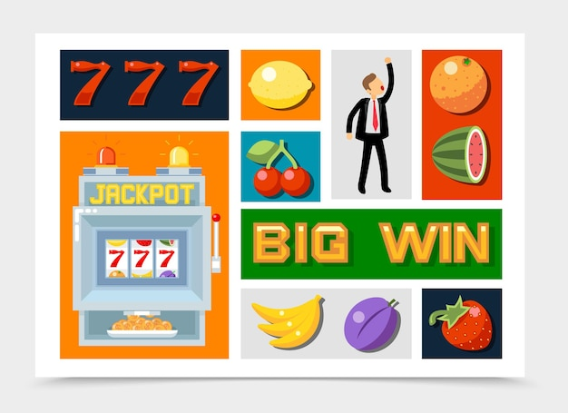 Flat casino elements collection with number seven fruit symbols for slot machine jackpot winner isolated Free Vector