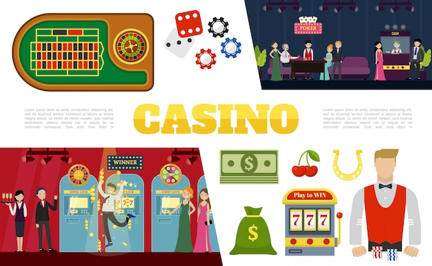 Flat casino elements collection with poker table dices chips bag of money slot machine clients waitress croupier Free Vector
