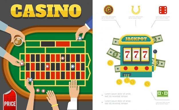 Casinò piatto e composizione di gioco con i giocatori intorno al tavolo da poker slot machine roulette ferro di cavallo dadi chip soldi Vettore gratuito