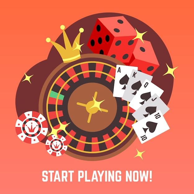 Flat casino gambling  concept set with win money jackpot Premium Vector