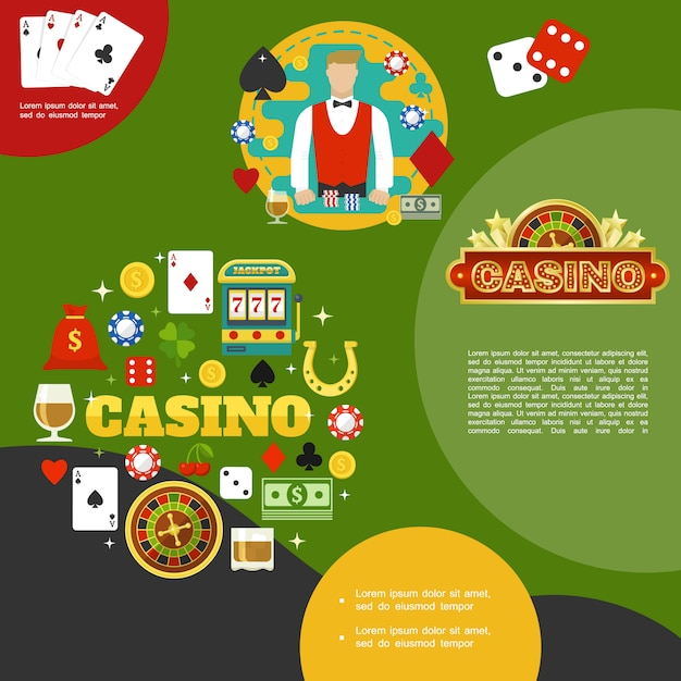 Flat casino and poker template with croupier card suits glasses of whiskey money bag slot machine horseshoe dices chips roulette Free Vector