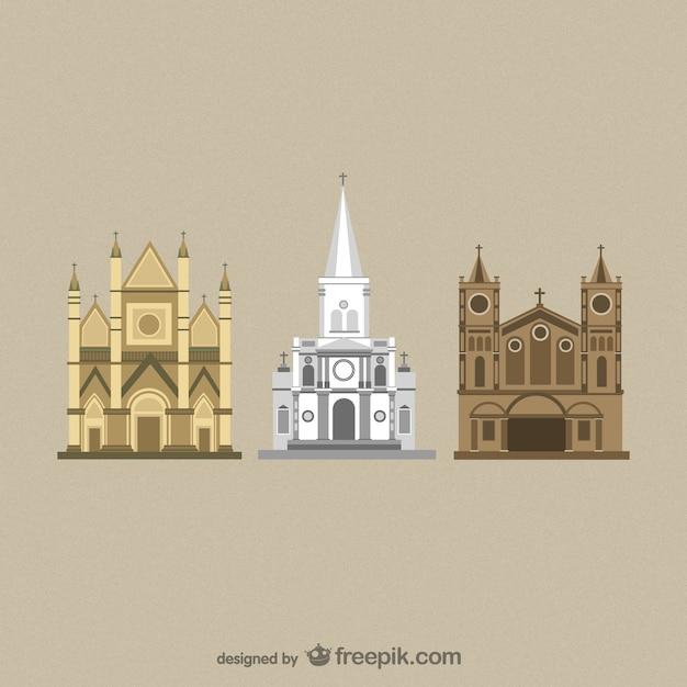 Flat cathedrals vectors Free Vector