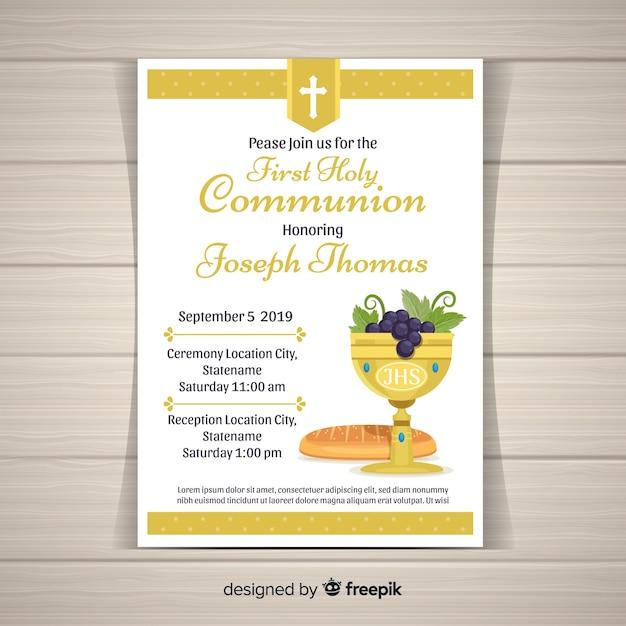 Invito alla comunione con il primo calice e pane Vettore gratuito