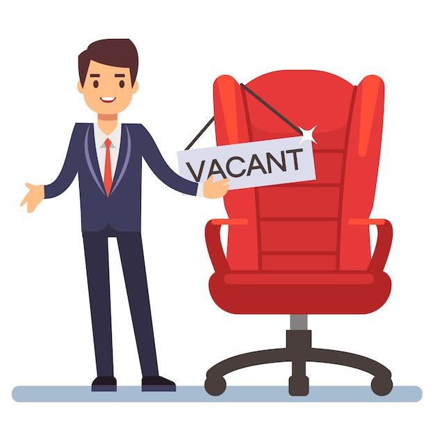 フラット文字の実業家と空いているテーブルとボスの椅子 Premiumベクター