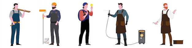 Flat character of labor set Premium Vector