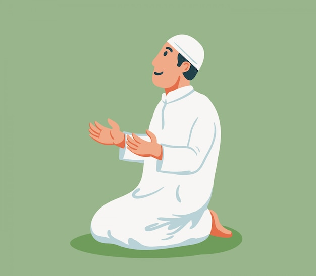Flat character of moslem male  sit and pray. Premium Vector