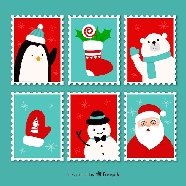 Flat characters christmas stamp pack Free Vector