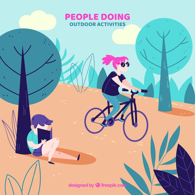 Flat characters doing leisure activities in the nature Free Vector