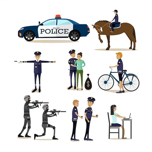 Flat characters set of policeman profession characters Premium Vector