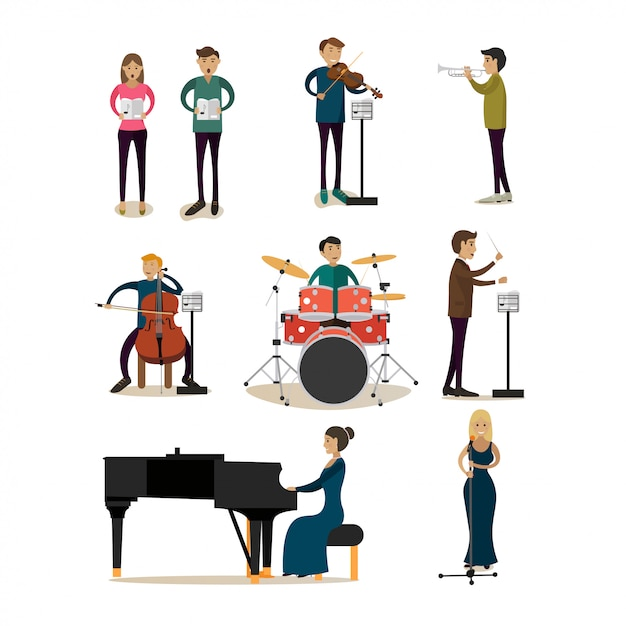 Flat characters set of symphony orchestra people Premium Vector