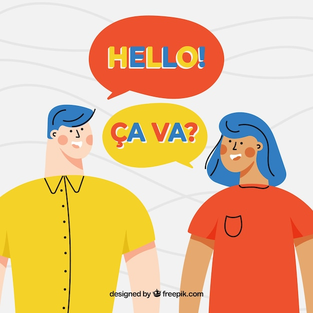 Flat characters speaking different languages Free Vector