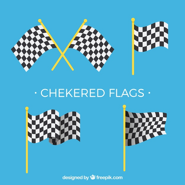 Flat checkered flag collection Free Vector