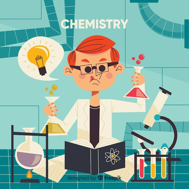 Flat chemistry background Free Vector
