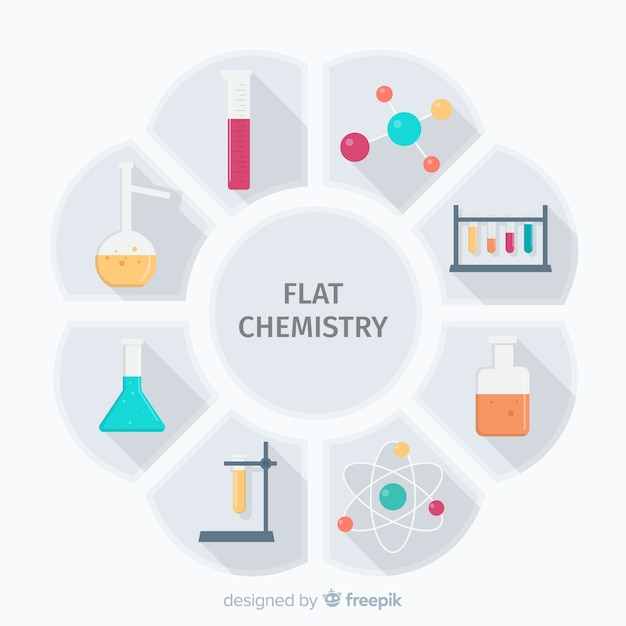 Flat chemistry colorful background Free Vector