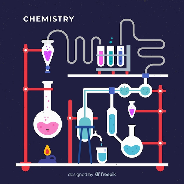 Flat chemistry laboratory with flasks Free Vector
