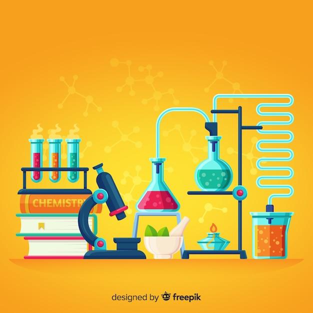 Flat chemistry yellow background Premium Vector