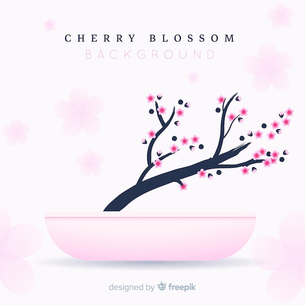 Flat cherry blossom branch in flowerpot background Free Vector