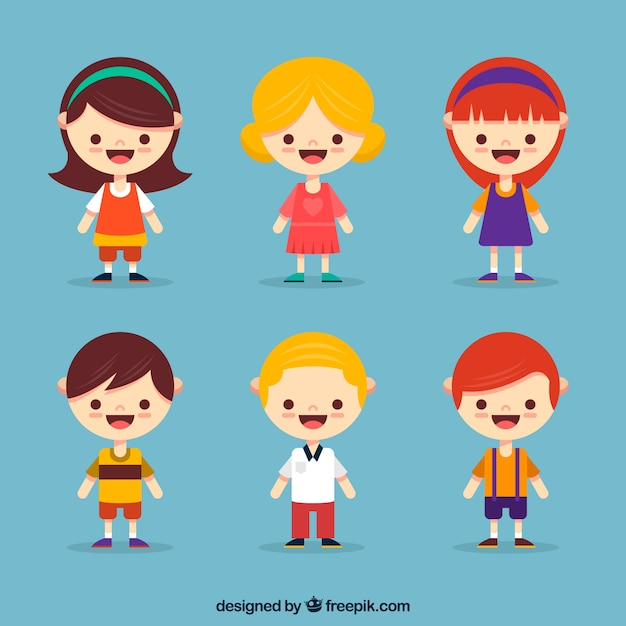 Character Design Vector Free Download : Flat child character collection vector free download
