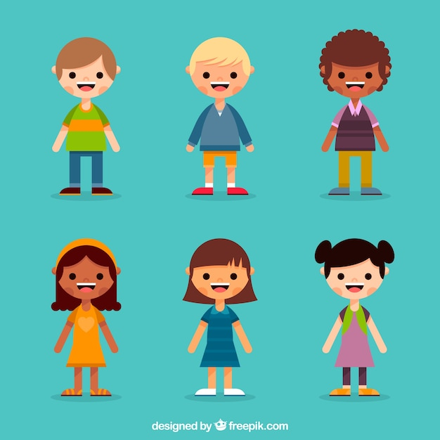Character Design Editor : Flat child character collection vector free download