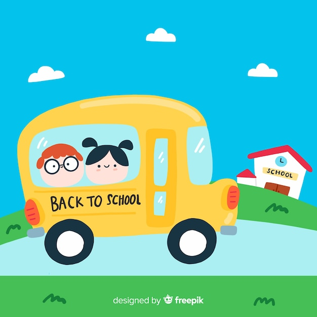 Flat children back to school background Free Vector