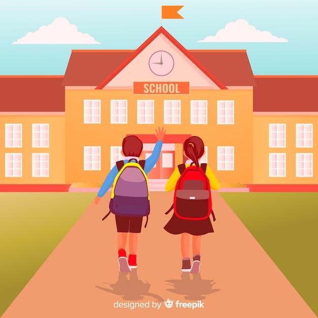 Flat children back to school background Free Vector