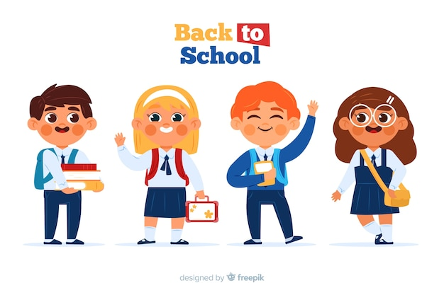 Flat children back to school collection Free Vector