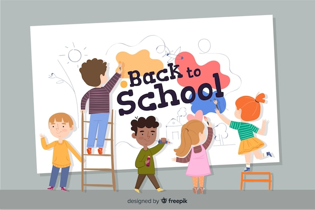 Flat children back to school Free Vector