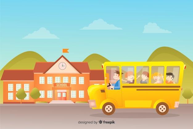 Плоские дети обратно в школьную коллекцию Бесплатные векторы