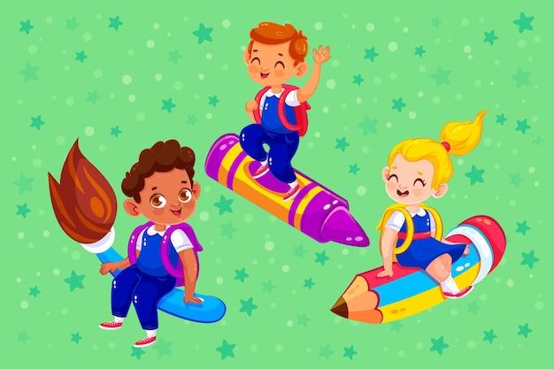 フラットの子供たちが学校のコンセプトに戻る 無料ベクター