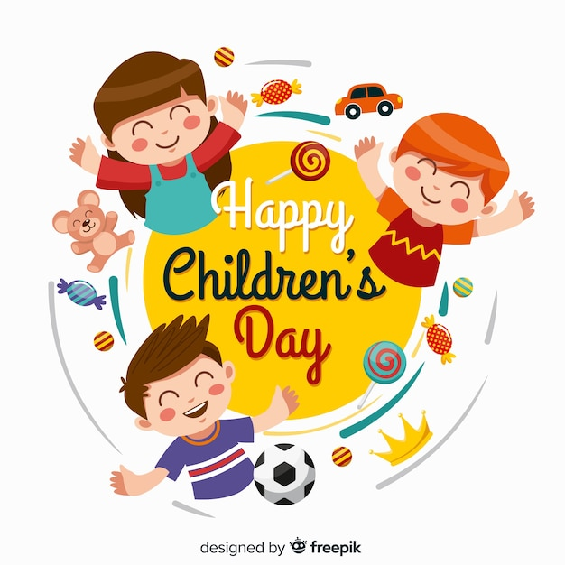 Плоский детский день малыши с играми и конфетами Premium векторы