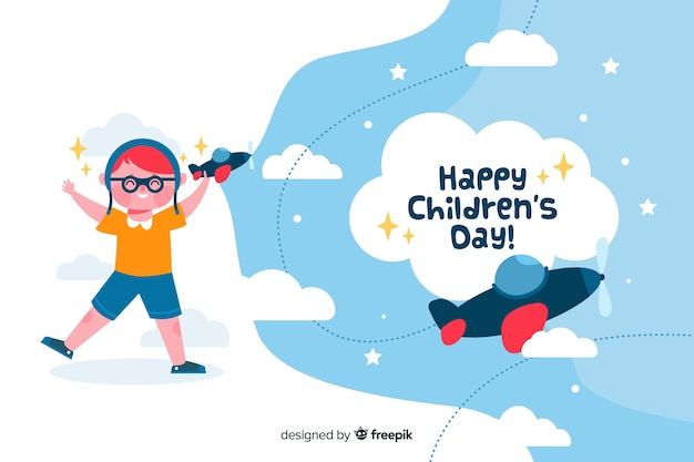 Flat children's day with child playing with planes Free Vector